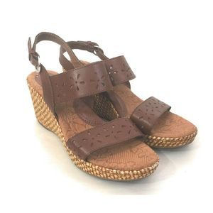 Boc Brown Leather Perforated Woven Wedge Heels 9